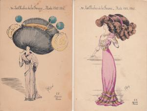 Le Chichis de la Femme Mode 1909-1910 women fashion coiffure hairstyle artist x2