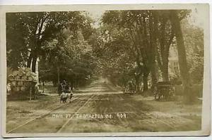 Thomaston ME Main Street Wagon Dogs RPPC Postcard