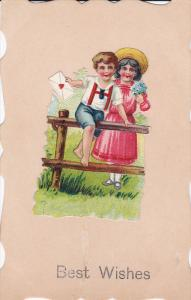 1900-1910´s; Boy And Girl Holding An Envelope, Best Wishes