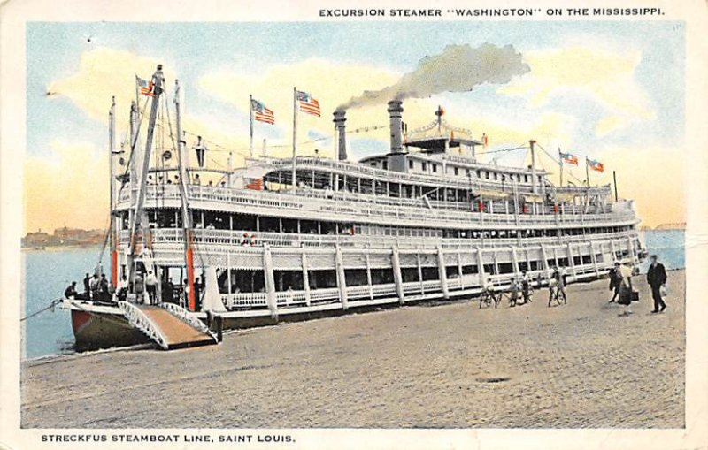 Excursion steamer, Washington on the Mississippi River Boat Writing on Back