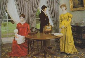 1810 Drawing Room Red Victorian Evening Dress Exeter Waxwork Fashion Postcard