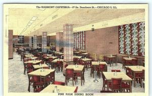 Postcard IL Chicago Interior The Harmony Cafeteria Pine Palm Dining Room A18