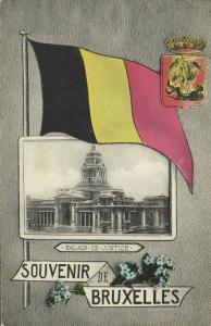 belgium, BRUXELLES BRUSSELS, Palais de Justice, Flag Postcard (1907)