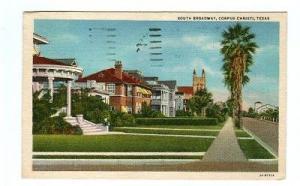 South Broadway Corpus Christi Texas linen postcard