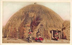 Native Life Zulu Hut Zululand Nudes Real Photo Postcard