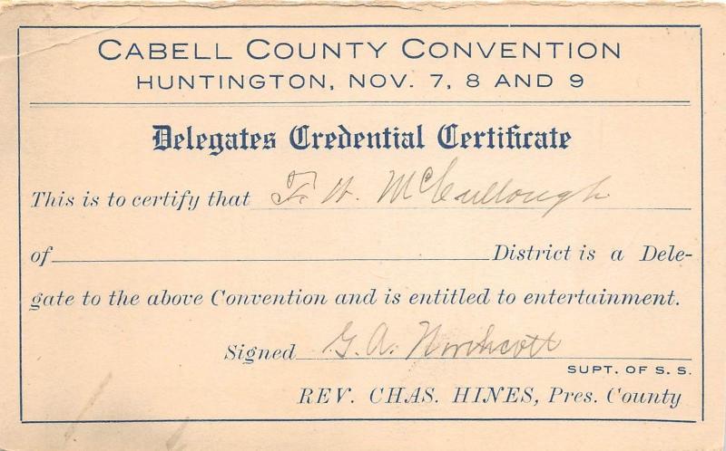 E33/ Huntington West Virginia WV Postcard? c1920 Cabell County Convention