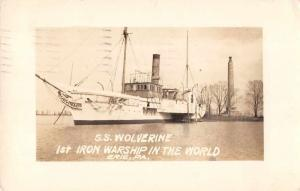 Erie Pennsylvania SS Wolverine Iron Warship Real Photo Antique Postcard J80121