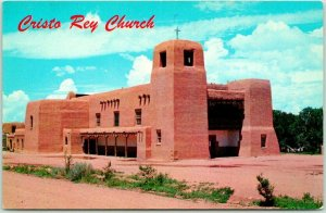 Santa Fe, New Mexico Postcard CRISTO REY CHURCH Building / Street View Chrome