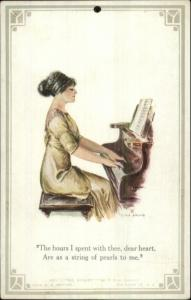 F. Earl Christy Beautiful Woman at Piano #401 THE ROASRY Knapp Postcard