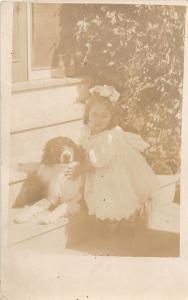 F27/ Animal RPPC Photo Postcard c1910 Dog Cute Girl Pet 16