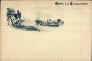 Groet Uit Scheveningen Netherlands c1900 Postcard #3