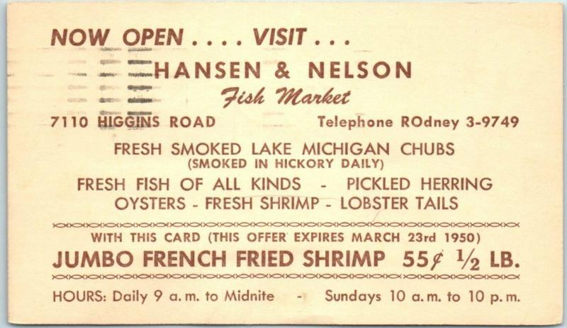 1950 Chicago Advertising Postcard HANSON & NELSON FISH MARKET 7110 Higgins Road