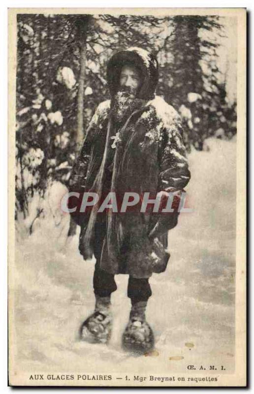 Old Postcard Polar In the polar ice Breynat Bishop and his rackets