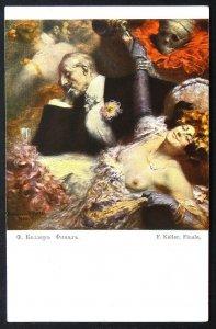 140501 KELLER Finale DEATH Skull Allegory Nude Female Art IMP RUSSIA pc c.1910