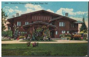 Postcard - Beautiful Bungalow Home, San Diego, California 4580