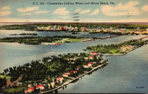 Florida Causeway Linking Miami and Miami Beach 1947 Curteich