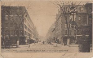 MANCHESTER NH - Hanover Street 1910s era / Horse & Buggies