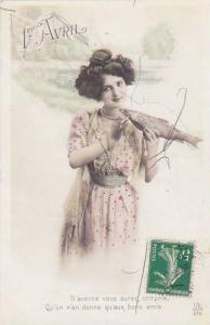1er Avril April Fool's Day Young Girl Holding Fish 1913