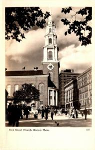 Massachusetts Boston Park Street Church Real Photo