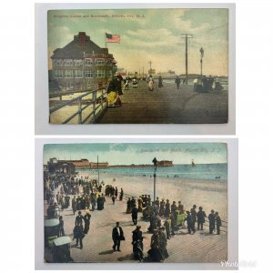 Lot Of 2 : Atlantic City NJ Boardwalk Beach Casino Postcard Vintage