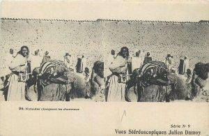 Postcard Stereo view Algeria ethnic life Alger black nomades