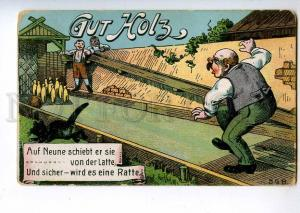 213933 GERMANY SPORT bowling struck the leg Vintage postcard