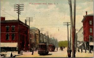 Rome New York~West Dominick Street Business~Bicycle Scoots Between Trolleys~1911