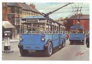 tm5706 - Darlington Trolleybus no 34 to Brougham St - art G S Coopper postcard