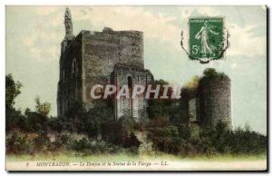 Old Postcard MontbazonLe Dungeon and Staue of the Virgin