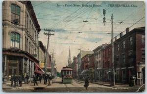Steubenville OH Postcard North 4th Street, Business Section Hand-Colored 1910s