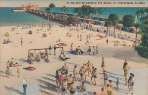 Mid Winter Bathing Spa Beach And Million Dollar Pier St Petersburg Florida