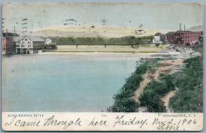 BINGHAMPTON NY SUSQUEHANNA RIVER 1906 UNDIVIDED ANTIQUE POSTCARD