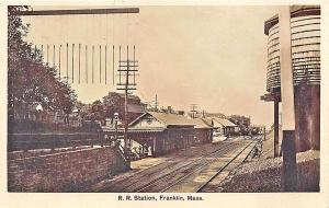 Franklin MA Railroad Station Train Depot Water Tower 1912 RPPC Postcard