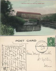 OLD COVERED BRIDGE FROM ACROSS WARE RIVER BARRE MA ANTIQUE POSTCARD