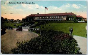 Pittsburg, Pennsylvania Postcard Zoo, Highland Park Building View 1913 Cancel