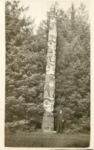 c1910 RPPC Postcard; Man & Great Totem Pole Unknown Pacific Northwest Location