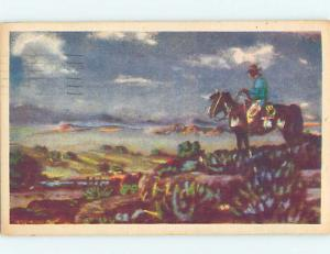 Linen POSTCARD OF OLD WEST PAINTING AT MUSEUM hr1483