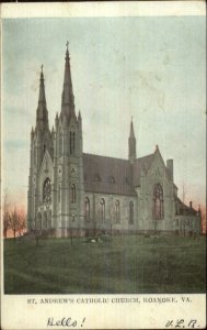 Roanoke VA St. Andrew's Catholic Church 1906 Used Postcard