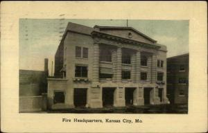 Kansas City MO Fire HQs Station Dept Used 1909 Postcard