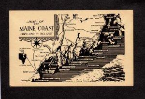 ME State Map of Maine Coast Portland to Belfast Postcard Owl's Head Castine