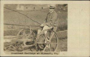 President Calvin Coolidge on Farm Plow c1920 Real Photo Postcard