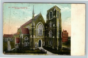 Jersey City NJ-New Jersey, St Patrick Church, Vintage c1911 Postcard