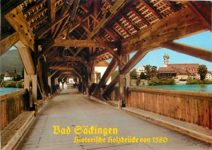 Germany Bad Sackingen  historiche holzbrucke Postcard