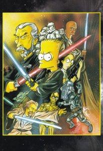 Star Wars R2D2 C3PO Princesss Leia Sabre Duel The Simpsons Comic Posatcard