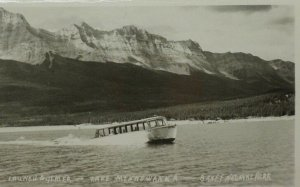 Launch Aylmer & Lake Minnewanka Banff National Park Canada RPPC Postcard A7