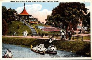 Michigan Detroit Belle Isle Cedar Mound and Floral Flag