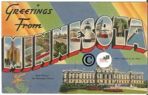 Big Letter Postcard Greetings From Minnesota Vintage Card from Midwest States
