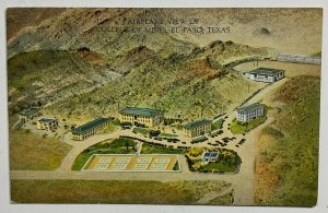 Old VTG Linen Era Postcard Airplane View of College of Mines El Paso Texas
