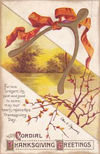 Clapsaddle Thanksgiving Greetings Gold Wishbone With Ribbon 1912