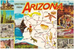Arizona Greetings With Map and Multi View